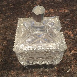 Vintage square crystal sugar bowl with spoon cut